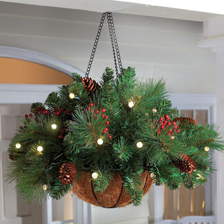 Cordless Hanging Cone & Berry LED Basket